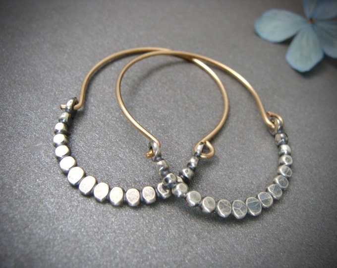 beaded minimalist ... mixed metal hoops, sterling silver and gold filled hoops, silver bead hoops, unique jewelry, gifts for her