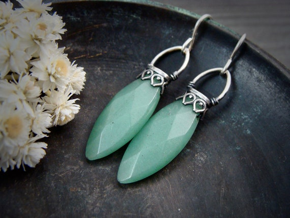 jadeite lanterns dangles ...gemstone earrings, sterling silver dangles, jadeite jewelry, jadeite dangles, Art Deco jewelry, gifts