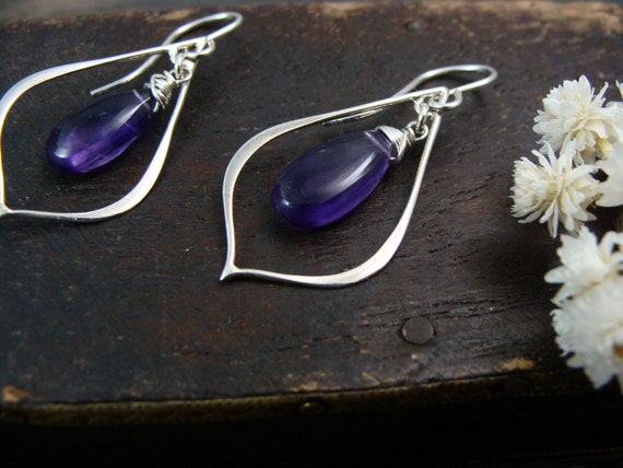 mystic petal hoops.. gemstone hoop earrings, sterling silver dangles, peach sunstone earrings, gifts for women, gifts for her