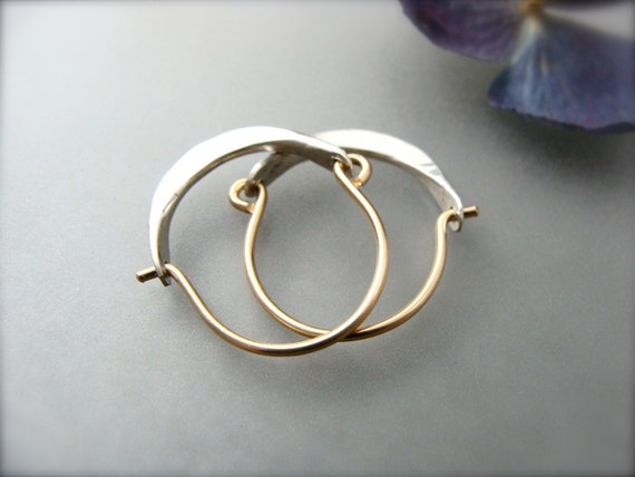 mini minimalist ... 14k gold filled and sterling hoops, handmade jewelry, hammered sterling hoops, small hoops, mixed metal hoops