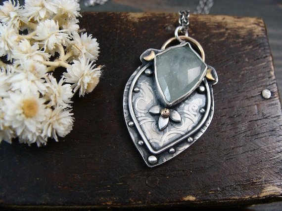 eternal spring ... aquamarine pendant, mixed metal pendant, aquamarine jewelry, March Birthstone, gifts for her