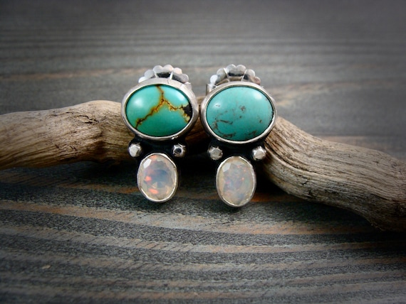 sugar mountain.. double stone post earrings .turquoise earrings, opal earrings, two stone earrings, gemstone earrings