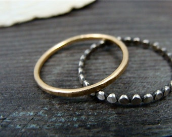 deco stack ... stackable rings, mixed metal stacking rings, hammered stack rings, handmade rings, gold and silver rings