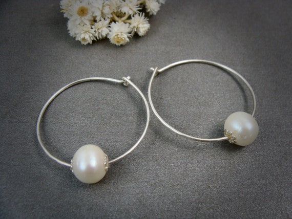 pearl flower hoop ... sterling silver hoops, pearl hoops, small hoops, Bridesmaid gifts, classic pearls, pearl jewelry, gifts