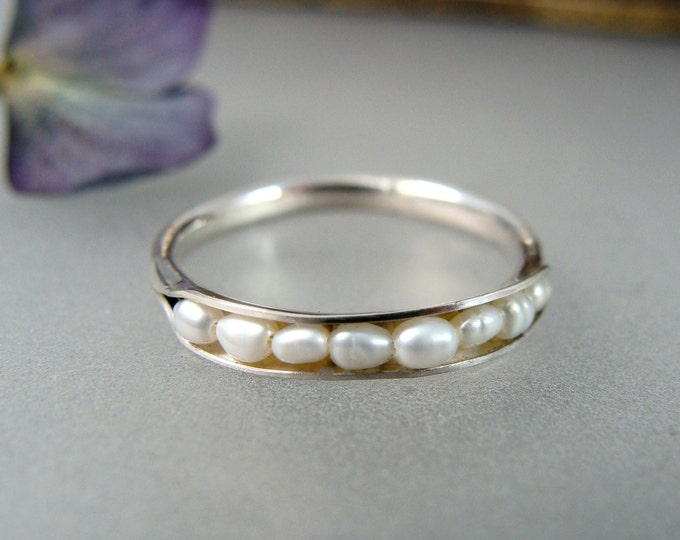 palladium silver pearl stack ring, petite pearl ring, pearl band ring, classic jewelry, gifts for her