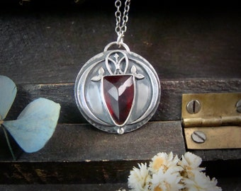 pomegranate pendant ... garnet pendant, mixed metal pendant, garnet jewelry, silversmith pendant, gifts for her, January Birthstone