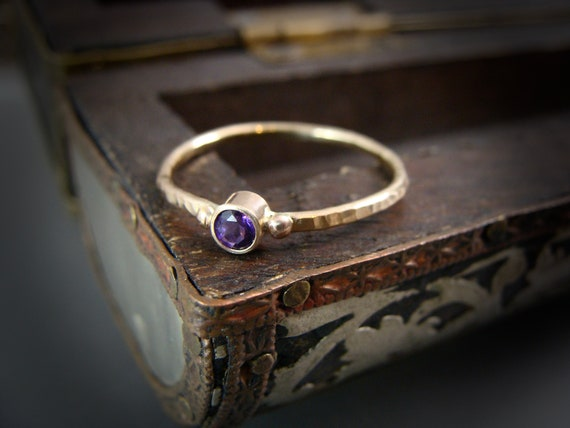 tiny amethyst ... solid 14k gold and amethyst stack ring, gifts for her, February Birthstone, birthstone ring, delicate rings