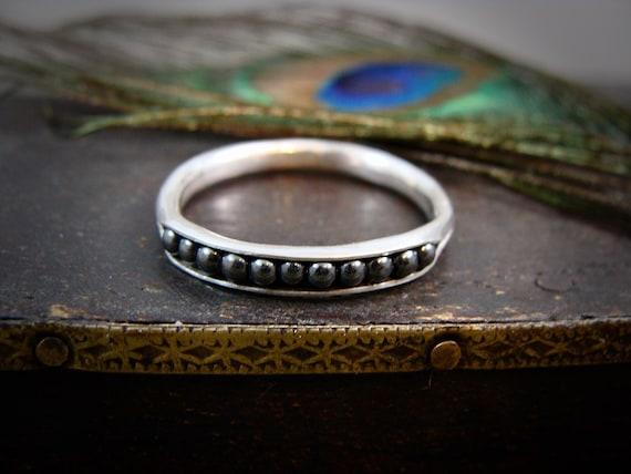 hematite stack ring, hematite ring, handmade ring, gemstone stacking ring, rings for women, sterling silver stacking ring