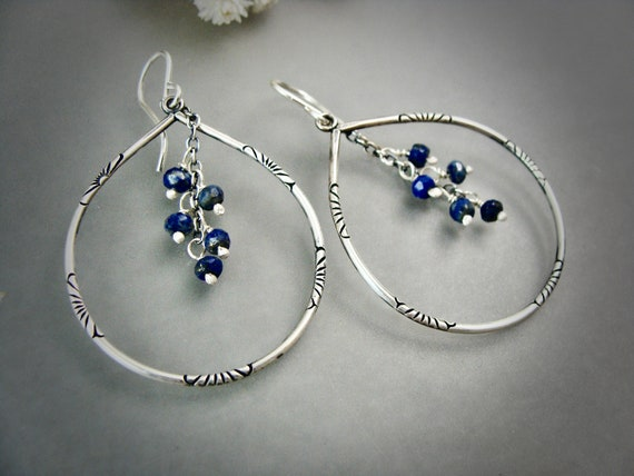lapis tears ... sterling silver lapis dangles, handmade jewelry, lapis jewelry, boho jewelry ,gifts for her
