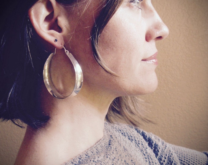 x-large sterling saddle hoops... large sterling hoops, statement earrings, lightweight hoops, gifts for her