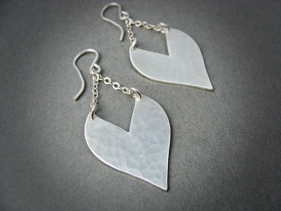 heart strings ... sterling silver dangles, handmade jewelry, hammered silver dangles, heart earrings, gifts for her