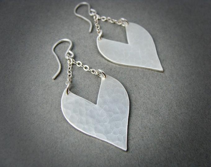 heart strings ... sterling silver dangles, handmade jewelry, hammered silver dangles, heart earrings, gifts for her