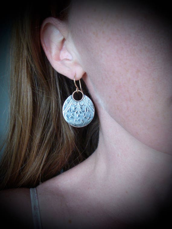 large printed moon ... mixed metal earrings, imprinted jewelry, gifts for her