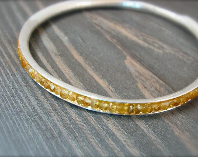 citrine bangle, gemstone bangle, November Birthstone, citrine bracelet, stack bangle, silver bangle, gifts for her