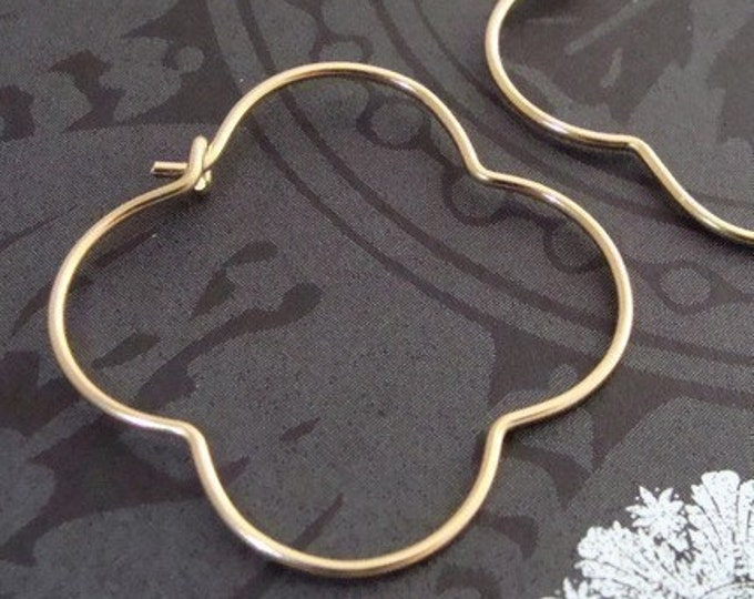 golden gothic hoops... 14k gold filled hoops, clover hoops, quatrefoil hoops, gold hoops, unique jewelry, simple jewelry, gifts for her
