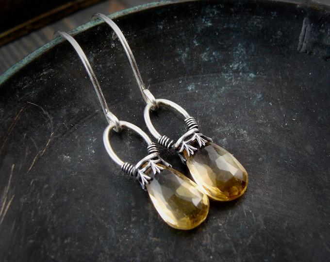 citrine lanterns ... gemstone earrings, sterling silver dangles, citrine earrings, November birthstone, 925, gifts for her