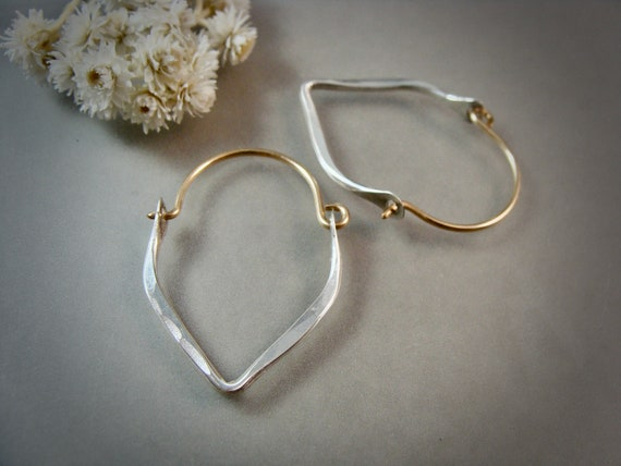 mini minimalist II... 14k gold filled and sterling hoops, handmade jewelry, hammered sterling hoops, small hoops, mixed metal hoops