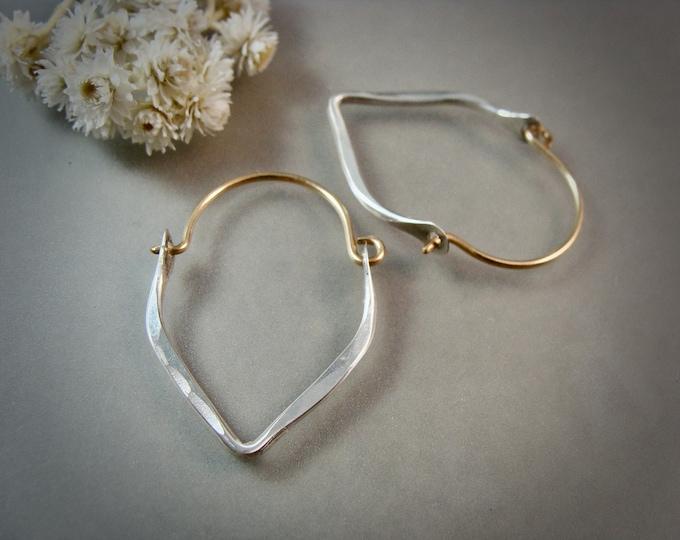 mini minimalist teardrop hoop ... 14k gold filled and sterling hoops, handmade hoop, hammered sterling hoops, small hoops, mixed metal hoops