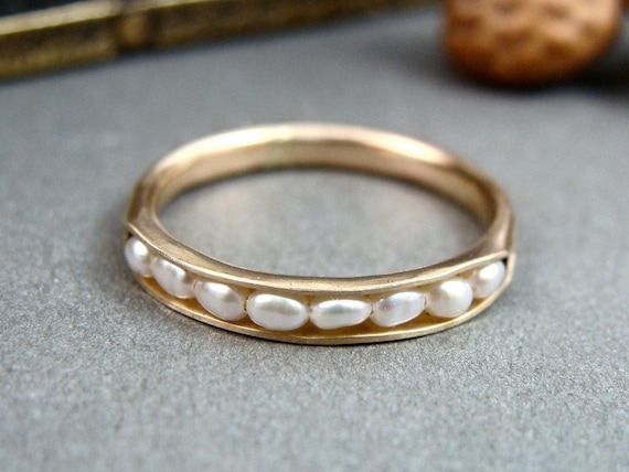 Ready to ship size 9 ... solid 14k gold petite pearl stack ring