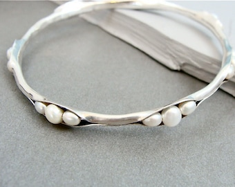 pearl cluster bangle, silver stack bangle, pearl stack bangle, pearl bracelet, silver bracelet, gifts for her, pearl jewelry