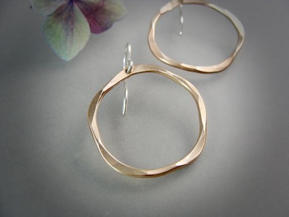 organic circle ... 14k gold filled hoop earrings, simple hoops, hammered hoops, gold hoops, mixed metal hoops, gifts for her, gold hoops