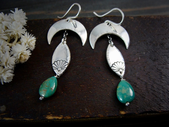 harvest moon ... sterling silver turquoise dangles, handmade jewelry, crescent moon jewelry, celestial jewelry, moon earrings ,gifts for her