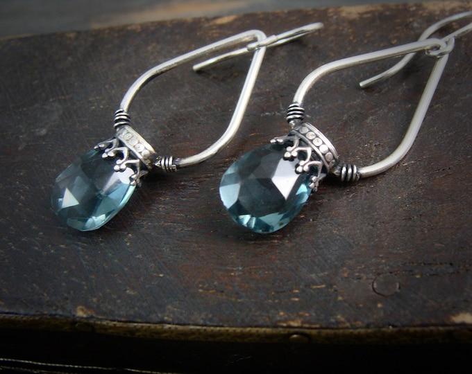 blue quartz lantern dangles ... gemstone earrings, sterling silver dangles, blue quartz earrings, gemstone hoops, gifts for her