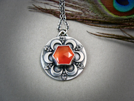 sacred geometry... carnelian and sterling silver pendant, handmade jewelry, silversmith jewelry, gifts for her, metalsmith jewelry