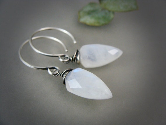 moonstone dangles ... sterling silver moonstone dangles, handmade jewelry, celestial jewelry, moonstone earrings, gifts for her