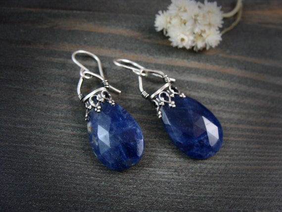 sodalite lantern dangles.. sterling and gemstone earrings, gemstone earrings, sodalite jewelry, sodalite earrings, gifts for her