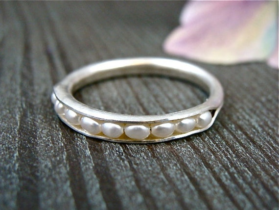petite pearl stack ring .. sterling silver stacking ring, pearl ring, handmade silver ring, rings for women, delicate pearl stacking ring