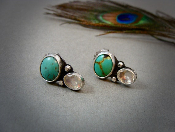 double stone post earrings ...turquoise earrings, opal earrings, two stone earrings, gemstone earrings