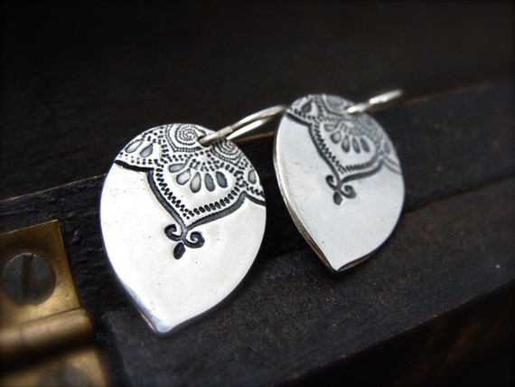 Marrakesh teardrop earrings ... pmc jewelry, silver earrings, boho earrings, mehndi jewelry, boho jewelry, gifts for her
