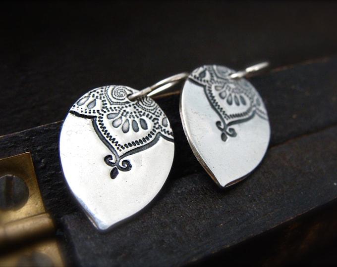 Marrakesh teardrop earrings ... pmc jewelry, silver earrings, boho earrings, mehndi jewelry, boho jewelry, gifts for her