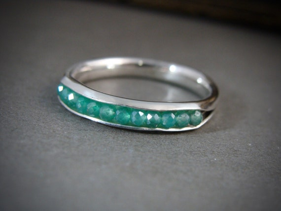 ready to ship size 7.. mystic quartz stacking ring...green quartz stacking ring, green quartz ring, sterling stack ring, gemstone ring