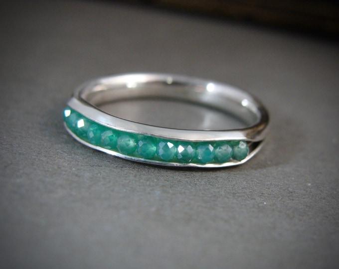 ready to ship size 7.. mystic quartz stacking ring...green quartz stacking ring, green quartz ring, sterling stack ring, gemstone ring