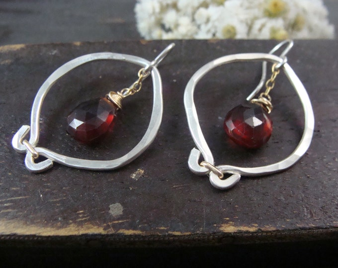 pomegranate earrings... garnet dangles, mixed metal earrings, boho jewelry, December birthstone