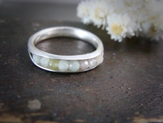 mixed aquamarine stacking ring... aquamarine band ring, silver stackable ring, gemstone stack ring, handmade ring, rings for women
