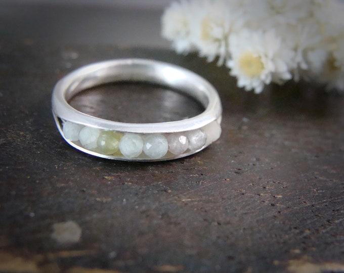 mixed aquamarine stacking ring... aquamarine band ring, silver stackable ring, gemstone stack ring, handmade ring, rings for women