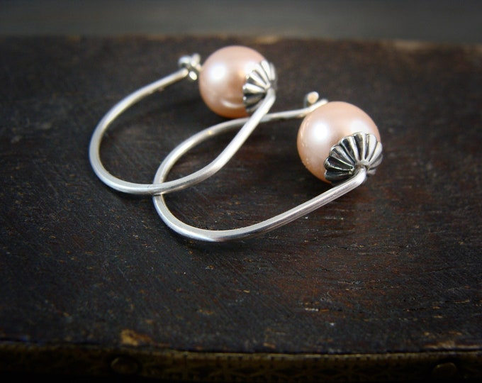 rose bud ... sterling silver hoops, Swarovski crystal pearl hoops, small hoops, Bridesmaid gifts, classic pearls, pearl jewelry, gifts