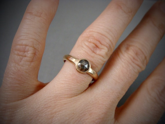 dark rose ... rose cut chocolate diamond solid 14k gold ring, hammered gold ring, diamond ring,
