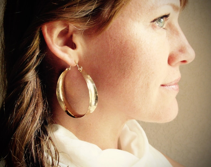 x-large saddle hoops ...handmade 14k gold filled hoops, gifts for her, lightweight hoops