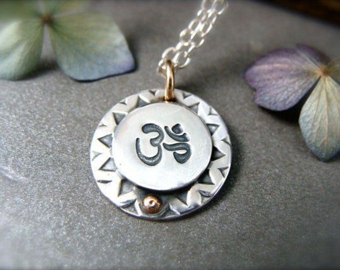 one with the universe … mixed metal ohm pendant, sterling silver pendant, layering pendants, gifts for her, handmade jewelry