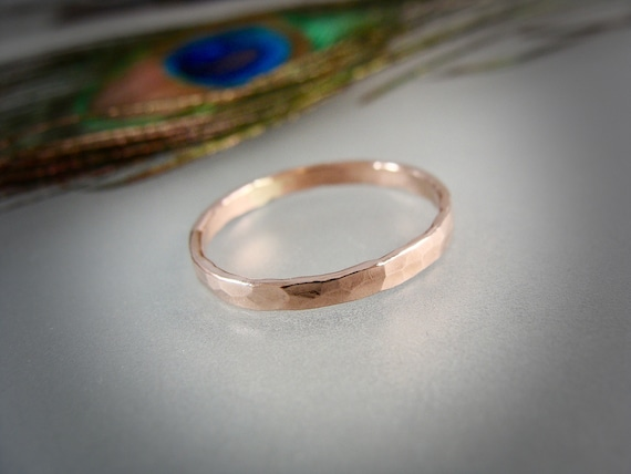 glimmer ... solid 14k rose gold stack ring, 14k rose gold Wedding band, hammered gold band, simple gold ring, gifts for her