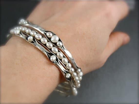 pearl bangle stack set ... three bangles, stack bangles, set of three, pearl bangles, gifts for her