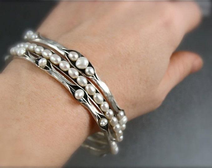 skinny pearl bangle stack set ... three bangles