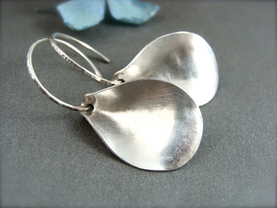 contemporary petal earring.. sterling silver leaf earrings, modern jewelry, modern earrings, handmade jewelry, small hoops, gifts for her