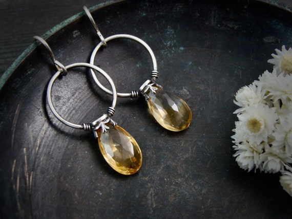citrine lanterns ... gemstone earrings, sterling silver dangles, citrine earrings, November birthstone, birthstone jewelry, gifts for her