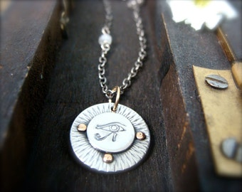 wedjat … sterling silver protection amulet, handmade jewelry, mixed metal pendant, layering necklace, gifts for her