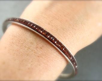 garnet gemstone bangle ... January Birthstone, garnet bracelet, stack bangle, silver bangle, 925, gifts for her